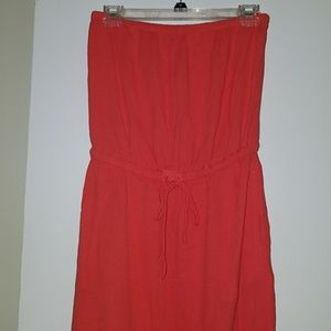 J.Crew Strapless Coral Cinched Waist Maxi Dress